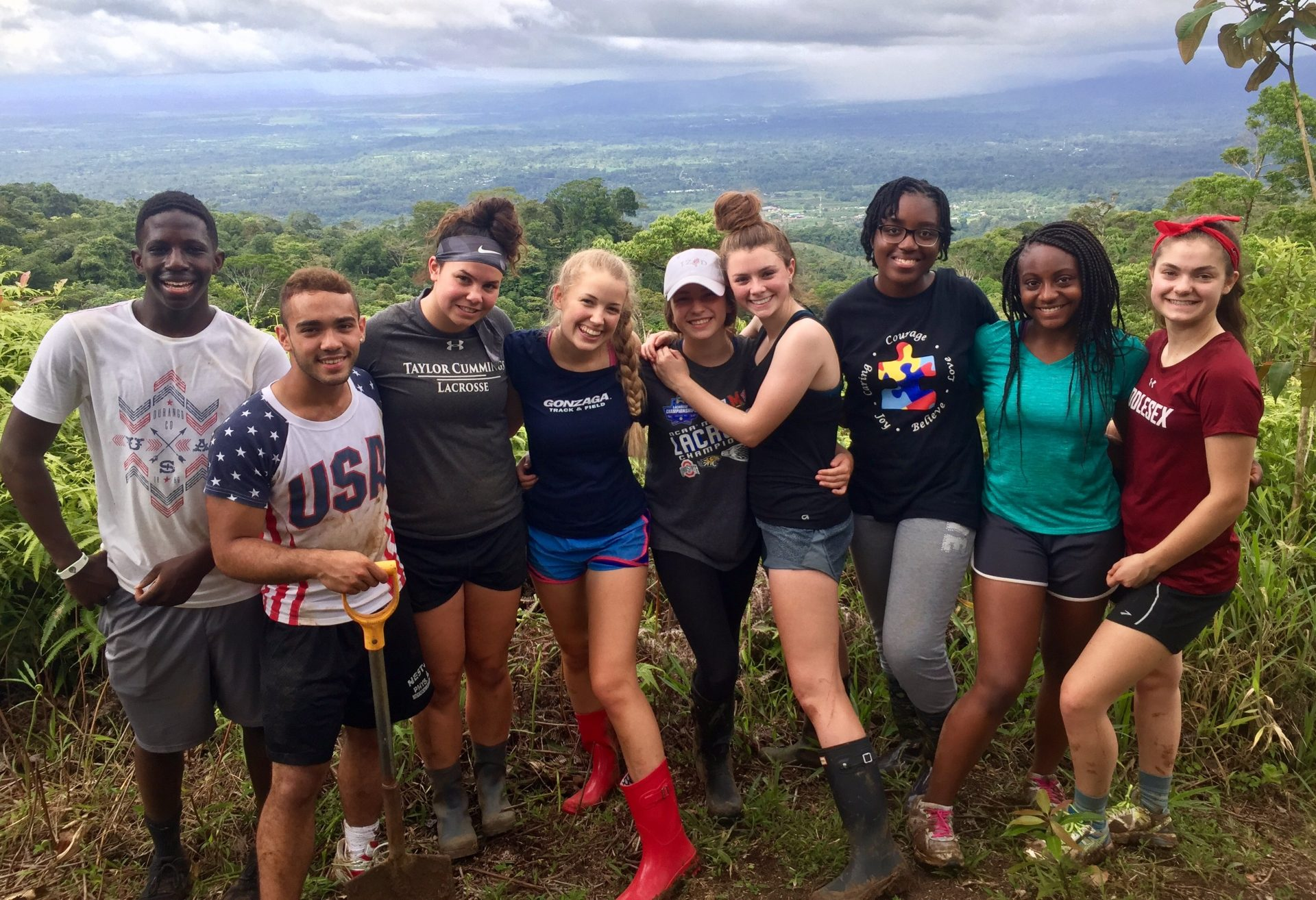 Group of teens with arms around each other in Costa Rica