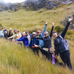 Group hike in Ecuador