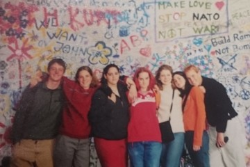 John Lennon Wall, Prague (author third from left)