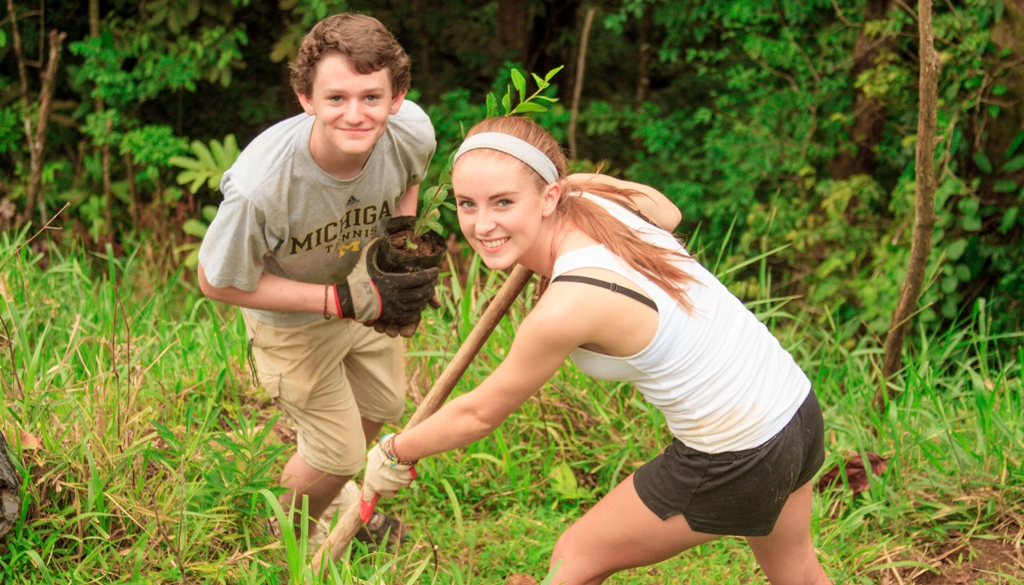 Students plant trees in Monteverde Cloudforest