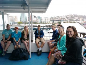 School group on a ferry in Martinique