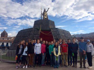 Group in Cusco, Peru plaza