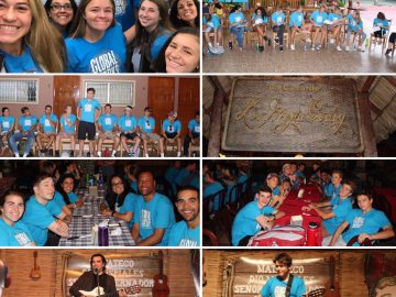 students arrive in Nicaragua and enjoy a welcome meal and games