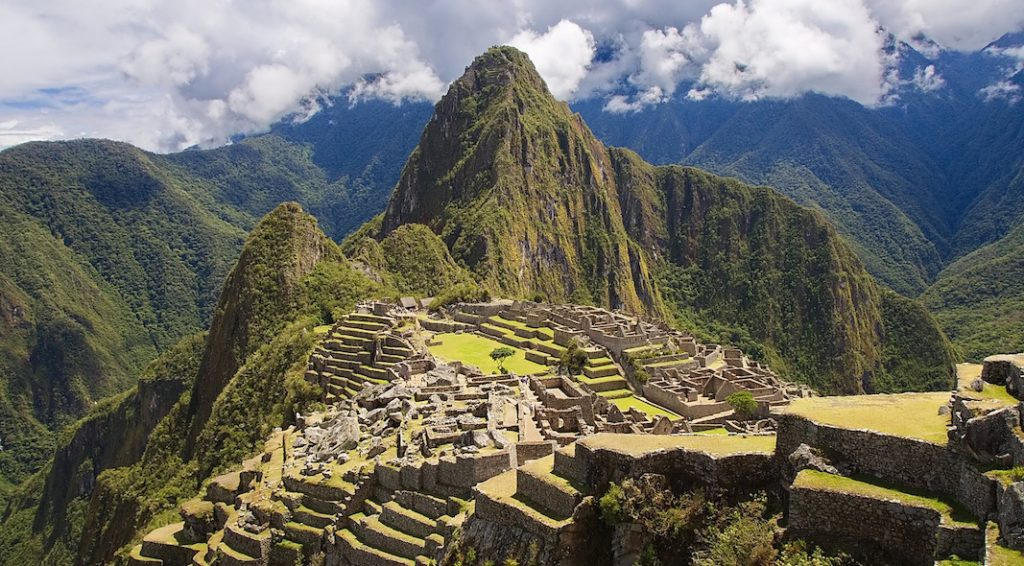 An aerial view of Inca ruins in Cusco, Peru.