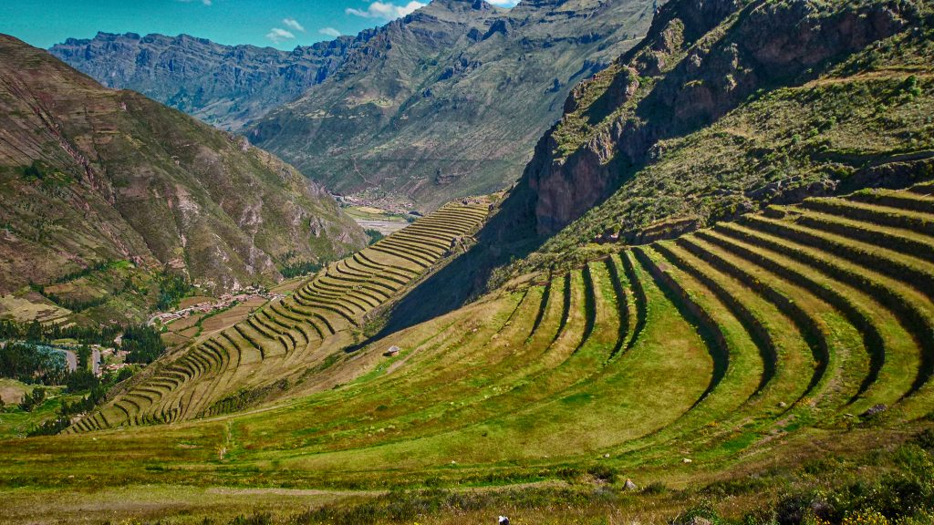 terraced hills of Sacred Valley in Peru